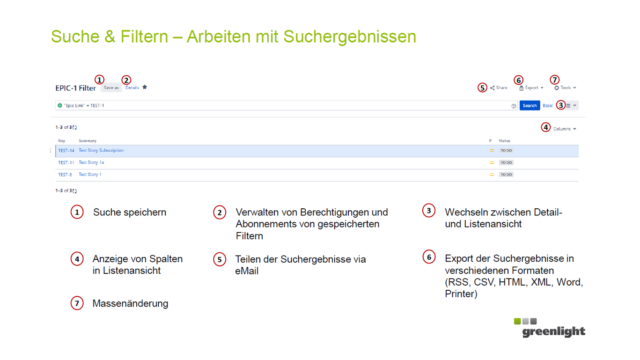 Greenlight goes agil: Suchen Anleitung
