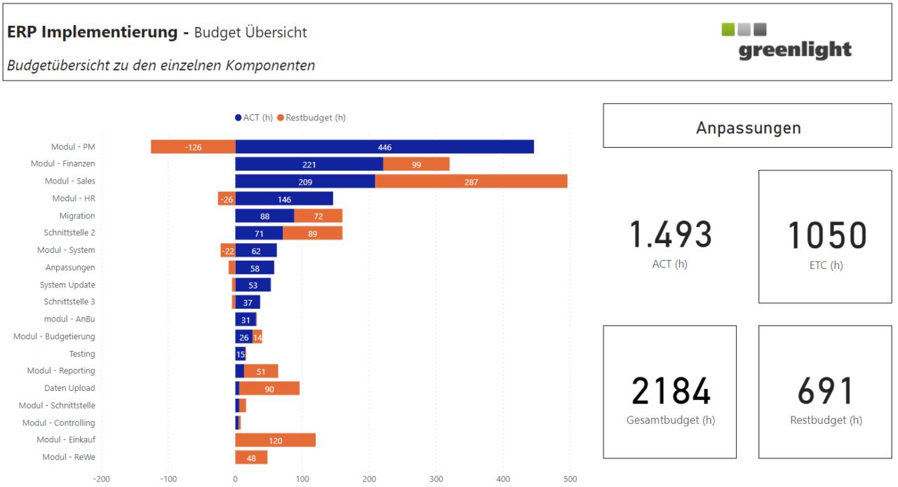 Stundenbasierte Ist- und Budgetübersicht